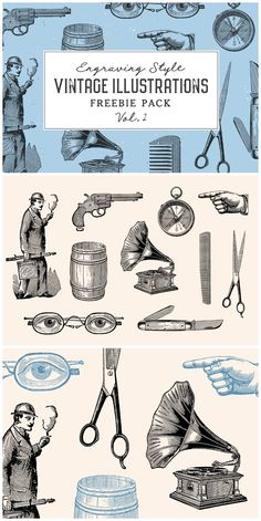 Vintage Illustrations Freebie Pack Vol. 2 by Graphic Goods Collection of 10 free vintage illustrations carefully restored from old books and catalogs. This set includes graphics of miscel Engraving Illustration, Antique Illustration, Vintage Illustrations, Graphic Design Illustration, Classic Branding, Vintage Graphic Design, Catalog Design, Retro Logos, Website Design Inspiration