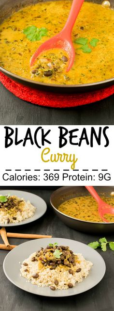 Black Beans Curry vegan and gluten free entree to be served over quinoa or brown rice and ready in less than 30 minutes Curry Recipes, Soup Recipes, Vegetarian Recipes, Dinner Recipes, Healthy Recipes, Beans Recipes, Free Recipes, Family Recipes, Vegan Black Bean Recipes