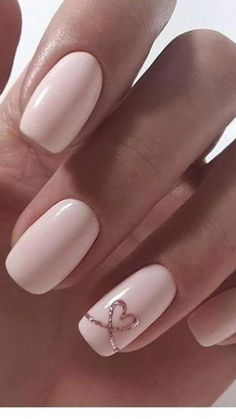 Beautiful collection of heart nail designs - 70 photos - Our nail . , Beautiful collection of heart nail designs - 70 photos - Our nail Pink Nail Art, Cute Acrylic Nails, Acrylic Nail Designs, Cute Nails, Pretty Nails, Nail Art Designs, Gel Nails, Nails Design, Glitter Nails