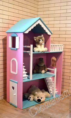 Кукольный домик - купить или заказать в интернет-магазине на Ярмарке Мастеров - 9JUOLRU | Бирюзово-розовый кукольный домик для маленькой…