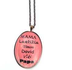Ein absolut einzigartiges, individuelles Geschenk für Mama, Oma, Tante, Patentante etc etc Namen der Kinder / Enkelkinder auf der Kette, + Mama, P...
