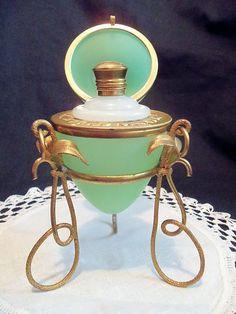 GREEN OPALINE French PALAIS ROYAL Grand Tour ~ EGG, Stand & Perfume Bottle | eBay   $485.00