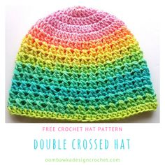 This pretty striped hat is made up of crossed double crochet stitches. The Double Crossed Hat is an easy pattern and I have included photo support