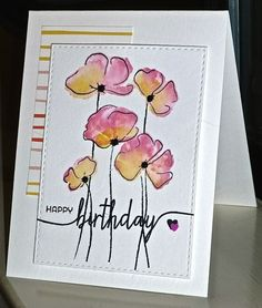Happy birthday by cards and paper crafts at homemade card designs diy handmade Watercolor Birthday Cards, Watercolor Cards, Flower Cards, Flower Stamp, Scrapbooking, Paint Cards, Happy Paintings, Handmade Birthday Cards, Homemade Cards