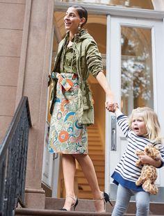 J.Crew Looks We Love: women's fatigue jacket, garment-dyed fatigue shirt, tie-waist skirt in ornate floral and Elsie cap-toe pumps.