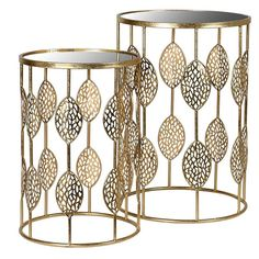 The Ariana Gold Nest of Tables feature a beautifully stylized leaf design in an antiqued gold finish, for a touch of glam. Sold as a set of Discover now. Decor, Light And Space, Mirrored Glass, Table Settings, Side Table, Table, Art Deco Furniture, Gold Nesting Tables, Console Table