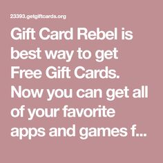 Gift Card Rebel is best way to get Free Gift Cards. Now you can get all of your favorite apps and games for free. Free Slot Games, Free Slots, Google Play Codes, Gift Card Generator, Free Gift Cards, All You Can, Free Iphone, Rebel, Apps