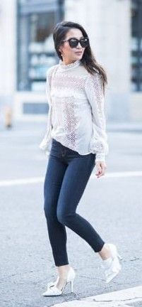 White Long Sleeve Lace Top + Jeans + White D'Orsay Pumps                                                                             Source
