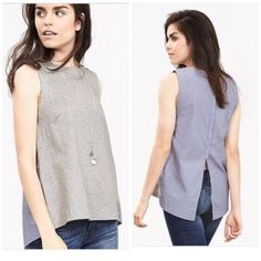 Banana Republic, poplin back tank, S New without tags. Very cute style but doesn't really suit me. If it looked as cute on me as it does the model, I would keep it!  size Small could fit 4/6/8 in my opinion. Banana Republic Tops Tank Tops