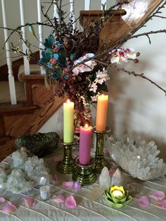 My home altar at Sage Goddess. Preparing for the arrival of spring.
