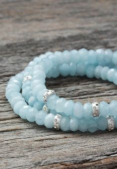 Aquamarine Sterling Bead Bracelet / Sky Blue Natural