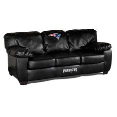The New England Patriots Black Leather Classic Sofa is the ultimate Patriots NFL fan cave leather couch!