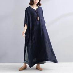 Summer V Neck Slit Loose Casual Navy Blue Dress