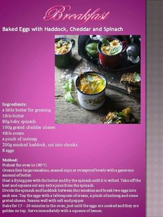 Banting Breakfast, Breakfast Spinach, Banting Recipes, Baked Eggs, Baby Spinach, Cheddar Cheese, Low Carb, Butter, Baking