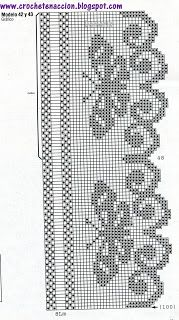 Filet Crochet Butterfly Edging chart...  Szydełkomania filete