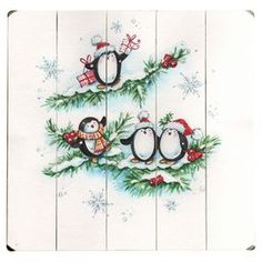 """Paneled wood wall decor with a holiday penguin design.  Product: Wall decorConstruction Material: WoodDimensions: 13"""" H x 13"""" WCleaning and Care: Wipe with a damp cloth"""