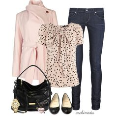 Oasis Spot Bow Front Top I might wear something like this minus the coat and skinny jeans