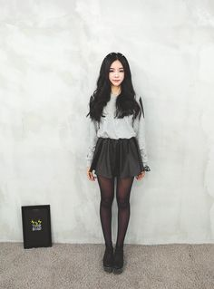 skirt, long sleeve sweater, and cute shoes ♥