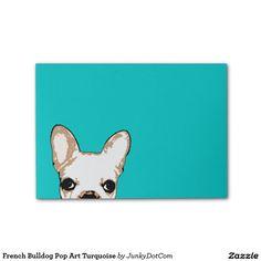 French Bulldog Pop Art Turquoise Post-it® Notes @zazzle #junkydotcom Aug 23 2016  3x
