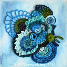 Beautiful free form crochet on canvas
