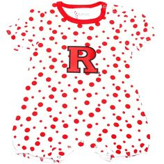 Rutgers Scarlet Knights Infant Girls Polka Dot Romper - White/Scarlet - $19.99