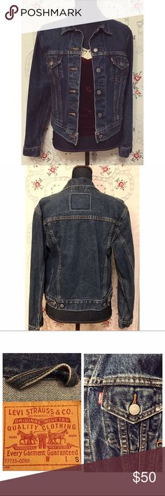 "Levi's Classic Cotton Jeans Jacket Denim Size S This is an authentic jeans jacket from Levi's. Classic denim blue, button closure on sleeves, 4 pockets and adjustable at hemline. Size Small, 100% cotton and machine washable. Length is 22"", 17"" across shoulders, sleeve length is 23"" and bust measures 34"". In excellent condition. Levi's Jackets & Coats Jean Jackets"