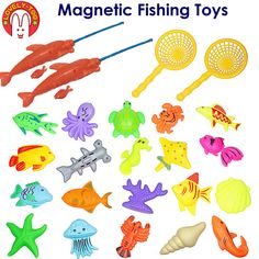 24PCS Magnetic Fishing Toys Games Plastic 3D Fish With Rod Net