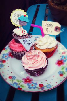 Alice in Wonderland Themed Cupcakes.        Bite Me: Chocolate cupcake with hidden Oreo surprise.             Eat Me: Chocolate cupcake with almond buttercream.            Drink Me: Pina Colada cupcake with rum cream-pudding filling.