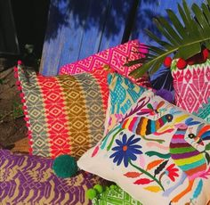 Mexican Otomi cushions by Oh Lola Mexican Inspired Living, a local brand based in Somerset West offering a variety of Mexican decor & clothing. Somerset West, Furniture Decor, Mexican, Gift Wrapping, Cushions, Interiors, Throw Pillows, Inspired, Clothing