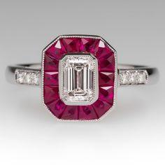 Emerald Cut Diamond & Ruby Halo Ring 18K
