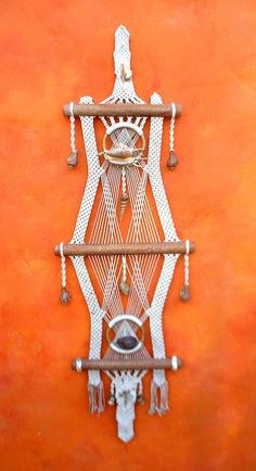 Hi, you need to be in my house like, now.     Vintage 1960s 1970s LARGE Macrame wall hanging with Shells and Wood. Great Modern Geometric Design. $85.00, via Etsy.