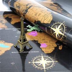 Mettez en valeur et montrez à vos amis dans quels pays vous avez été en voyage en grattant votre carte du monde. Bénéficiez d'un poster à la fois qualitative et ludique.