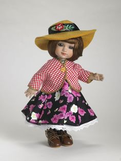 ©Mary Engelbreit Go Breitly 2007 Robert Tonner OUTFIT ONLY T7-AEOF-05 LE400 Originally Sold For $64.99 Print jacket over colorful print cotton dress; includes socks, shoes and hat; eye glasses are not included.