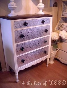 Paisley foil dresser makeover - No tutorial, but a very nice look! (4 the love of wood: AND THE OSCAR GOES TO - paisley highboy)