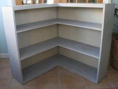 SOLD! Hand Painted Shabby Chic Vintage L Shaped Bookcase / Corner Bookshelf - local pickup only