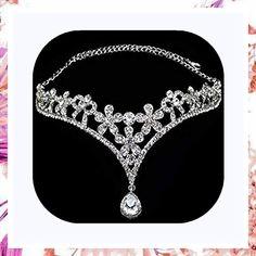 (This is an affiliate pin) Wedding Bridal Women's Crystal Flower Decor Crown Headband Headdress Tiara Short Wedding Gowns, Cheap Wedding Dress, Wedding Dresses, Sequin Bridesmaid Dresses, Wedding Bridesmaids, Blush Bridal, Bridal Gowns, Romantic Lace, Crown Headband