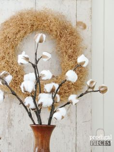 Vase of DIY Farmhouse Cotton Branches by Prodigal Pieces   prodigalpieces.com
