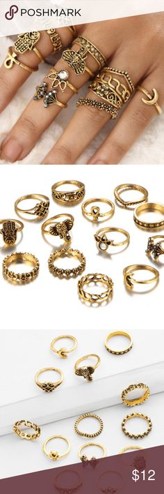 13 pc golden/bronze ring set: ancient charms &gems 13 piece set of charming ancient symbols, gemstones and attractive design patterns. Some made for lower finger, some smaller for midi finger rings. Jewelry Rings