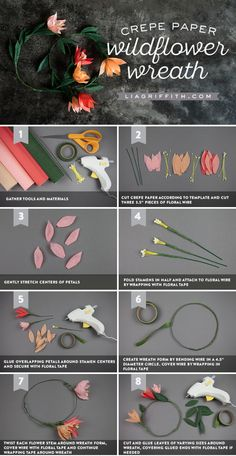 Crepe Paper Wildflower Blooms and DIY Wreath #liagriffith