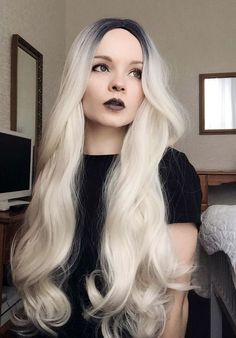 Long Dip Dye White Blonde Dark Blue Black Roots Lush Wig - Worldwide Tracked Delivery