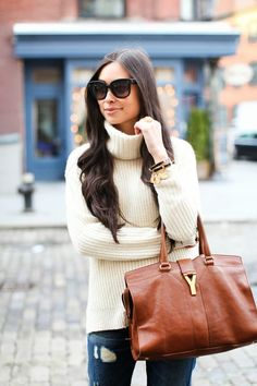 Cozy Basics - J.Crew Collection turtleneck // Rich & Skinny jeans c/o Schutz heels // YSL bag Wednesday, January 15, 2014