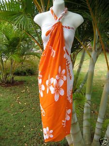 Sarong Orange/Wht Plumeria Coverup Hawaiian Luau Dress -  what I want to wear... SO CUTE! Only $10 - I can't believe it!!