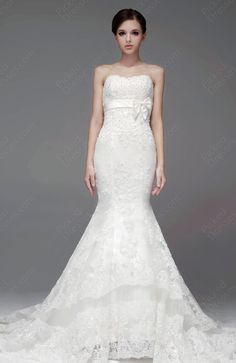 Trumpet/Mermaid Sweetheart Lace Satin Sweep Train White Appliques Wedding Dresses at Pickeddresses.com