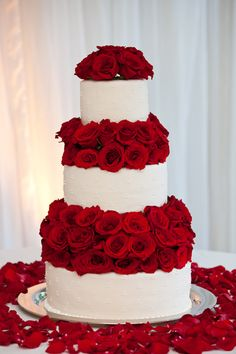 Red Roses Wedding Cake by Christine Dahl.
