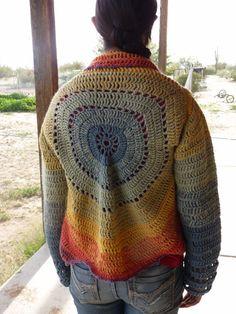 Circular Crocheted Cardigan by OneCountryGal on Etsy, $98.50