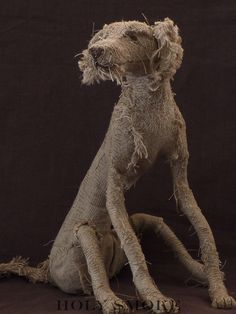 Dog from wire, natural linen, and vintage textiles - by Holy Smoke i really like