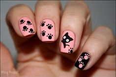 Pattes de chat nail art by Mary Monkett - Nailpolis: Museum of Nail Art Cat Nail Art, Animal Nail Art, Cat Nails, Pink Nails, Black Nails, Fancy Nails, Pretty Nails, Nails For Kids, Cool Nail Designs