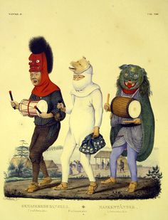 """19th C. Japanese masked parade from Siebold's """"NIPPON""""  http://record.museum.kyushu-u.ac.jp/nippon%20neo/page.html?style=b&part=1&no=271"""