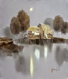 Kai Fine Art is an art website, shows painting and illustration works all over the world. Landscape Artwork, Landscape Pictures, Abstract Landscape, Images D'art, Art Chinois, Moonlight Painting, Art Asiatique, Winter Painting, Sketch Painting