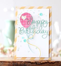 "Why couldn't you do the sentiment with glue written on waxed paper and then putting down baker's twine or fine yarn on the glue and after the glue dries, just lift it up and put it on the card?  Ought to try it at least.  (Can you tell I ""talk"" to myself when I do these thingies?)  ;-D   ... V"